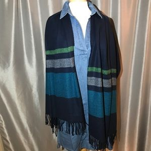 Striped blue and green fringe scarf